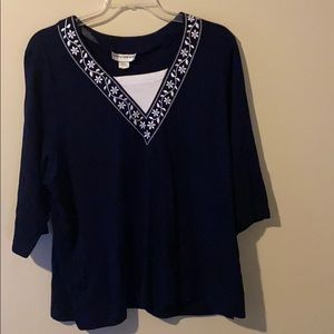 Plus Size Cathy Daniels Navy / White Tunic Top 3X